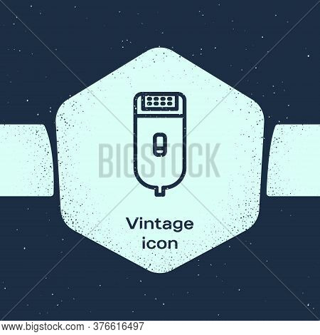 Grunge Line Electrical Hair Clipper Or Shaver Icon Isolated On Blue Background. Barbershop Symbol. M