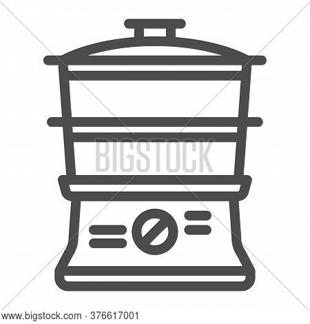 Double Boiler Line Icon, Kitchen Appliances Concept, Steamer Sign On White Background, Double Boiler
