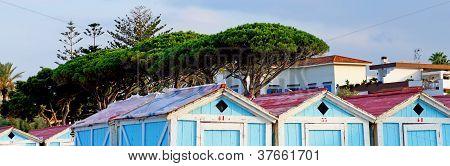 Wooden huts at Mondello beach of Palermo in Sicily