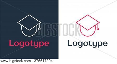 Logotype Line Graduation Cap On Globe Icon Isolated On White Background. World Education Symbol. Onl