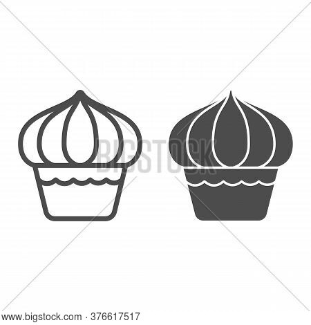 Cupcake Line And Solid Icon, Dessert Concept, Muffin Sign On White Background, Sweet Creamy Cupcake