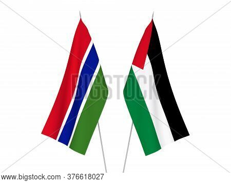 National Fabric Flags Of Palestine And Republic Of Gambia Isolated On White Background. 3d Rendering