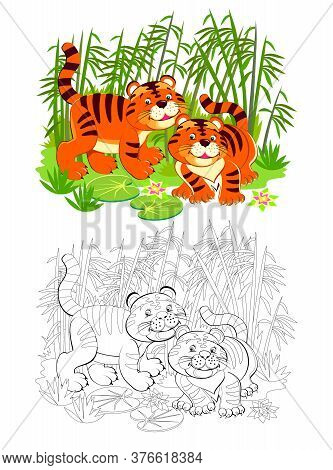 Page For Coloring Book. Illustration Of Two Cute Toy Tigers In Jungle. Printable Worksheet For Child
