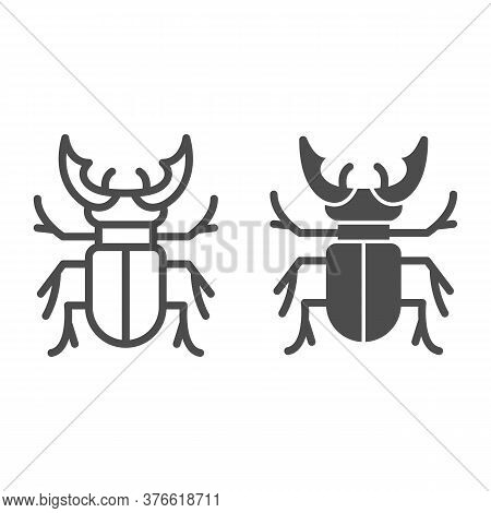 Beetle Stag Line And Solid Icon, Bugs Concept, Deer Beetle Sign On White Background, Stag-beetle Ico