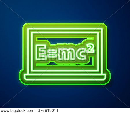 Glowing Neon Line Math System Of Equation Solution On Chalkboard Icon Isolated On Blue Background. E