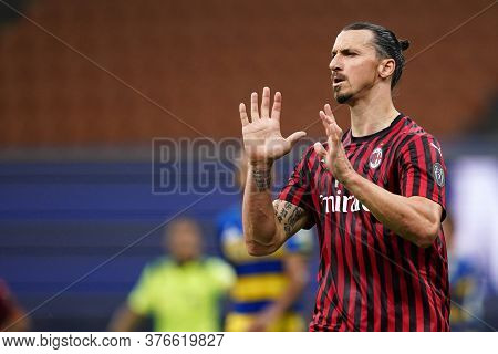 Milano, (italy). 15th July 2020. Italian Serie A. Ac Milan Vs Parma Calcio . Zlatan Ibrahimovic  Of