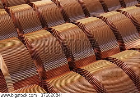 Many Copper Pipes In A Warehouse. 3d Illustration