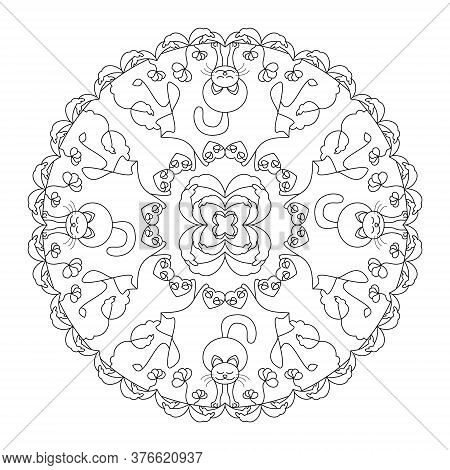Cat Stretching. Little Flowers, Hearts And Leaves. Mandala Coloring Page. Vector.