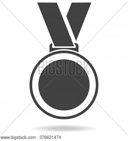 Sports Medal Icon. Sports Medal With Shadow Isolated On White Background. Vector Illustration. Vecto