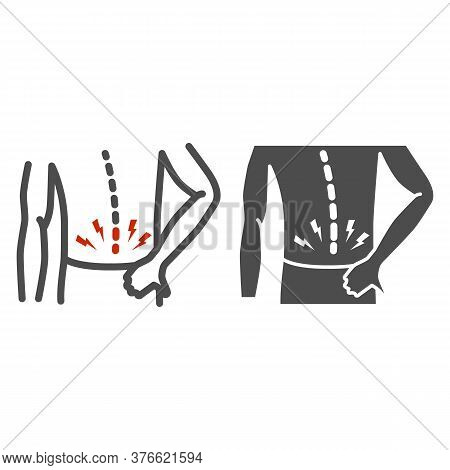 Back Pain Line And Solid Icon, Body Pain Concept, Backache Sign On White Background, Back Injury Ico