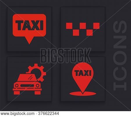 Set Map Pointer With Taxi, Map Pointer With Taxi, Taxi Car Roof And Car Service Icon. Vector