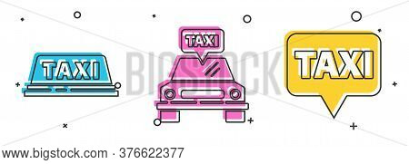 Set Taxi Car Roof, Taxi Car And Map Pointer With Taxi Icon. Vector