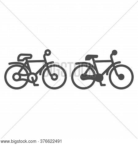 Bike Line And Solid Icon, Transportation Concept, Mountain Bicycle Silhouette Sign On White Backgrou