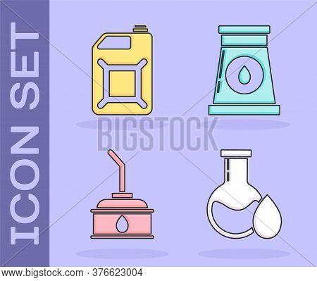 Set Oil Petrol Test Tube, Canister For Gasoline, Canister For Motor Machine Oil And Oil And Gas Indu