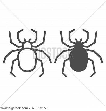 Spider Line And Solid Icon, Insects Concept, Scary Arachnid Insect Sign On White Background, Spider