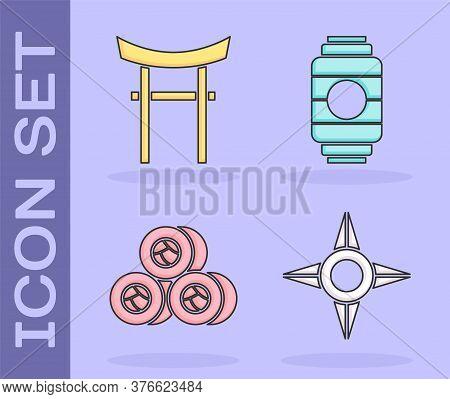 Set Japanese Ninja Shuriken, Japan Gate, Sushi And Japanese Paper Lantern Icon. Vector