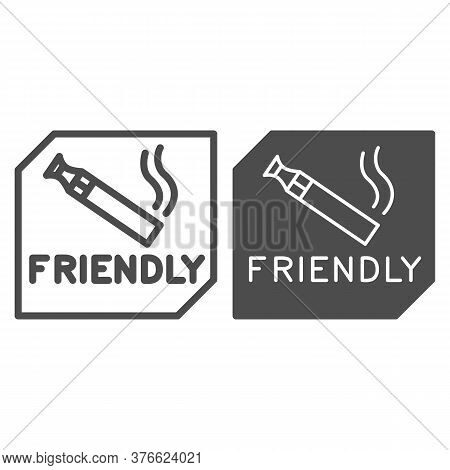 Place For Smoking Vape Line And Solid Icon, Smoking Concept, Smoking Area Sign On White Background,