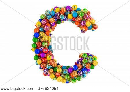 Letter C From Colored Christmas Balls. Xmas Balls Font, 3d Rendering Isolated On White Background