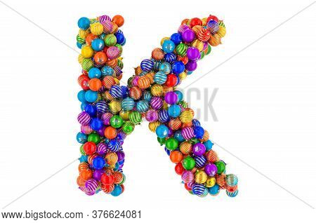 Letter K From Colored Christmas Balls. Xmas Balls Font, 3d Rendering Isolated On White Background