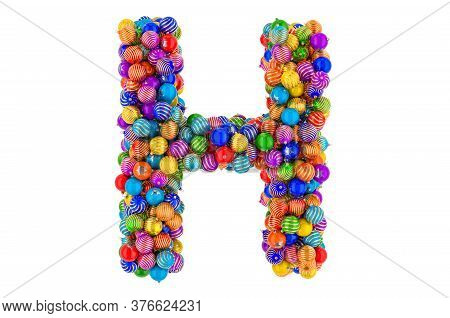 Letter H From Colored Christmas Balls. Xmas Balls Font, 3d Rendering Isolated On White Background