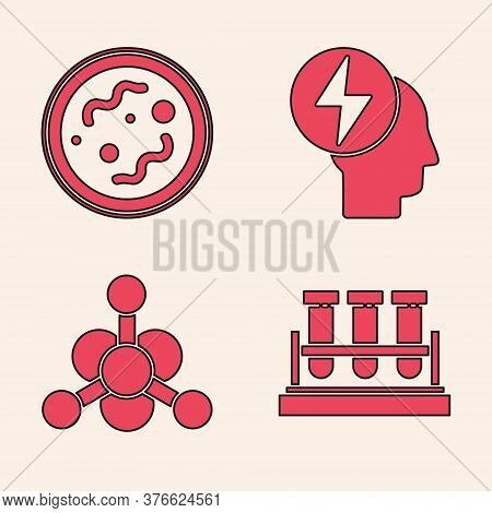 Set Test Tube And Flask Chemical, Bacteria, Head And Electric Symbol And Bacteria Icon. Vector