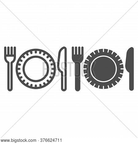 Plastic Disposable Tableware Line And Solid Icon, Picnic Concept, Plate With Fork And Knife Sign On