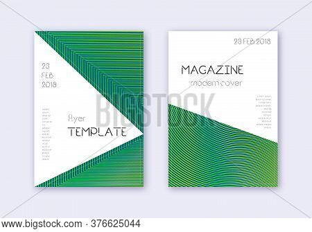 Triangle Cover Design Template Set. Green Abstract Lines On Dark Background. Impressive Cover Design