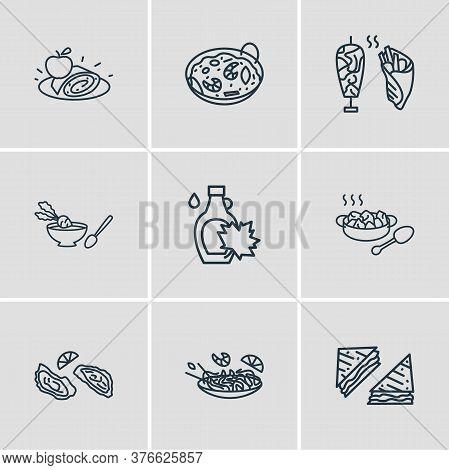 Illustration Of 9 Culinary Icons Line Style. Editable Set Of Austrian Apfelstrudel, Pad Thai, Americ