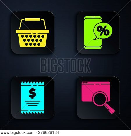Set Search In A Browser Window, Shopping Basket, Paper Check And Financial Check And Percent Discoun
