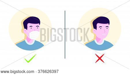 No Entry Without Face Mask Or Wear Mask Icon. Vector Illustration Of Yes No Sign With Man Wearing Or