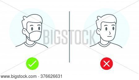 Simple Drawing Of No Entry Without Face Mask Or Wear Mask Icon. Vector Illustration Of Yes No Sign W