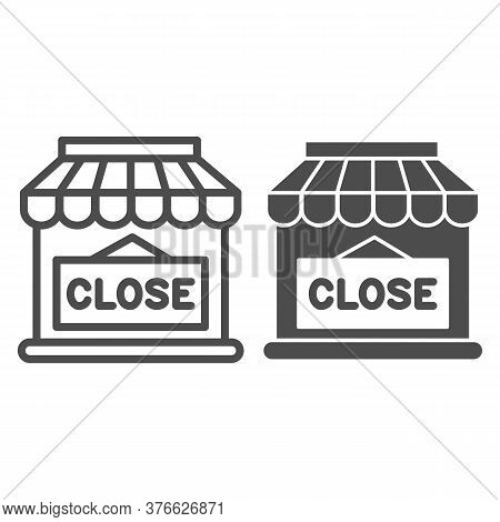 Close Shop Line And Solid Icon, Market Concept, Store With Closed Sign On White Background, Shop Doo