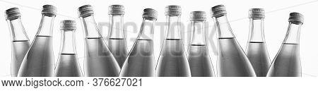 Black And White Bottle Necks On A White Background Isolate