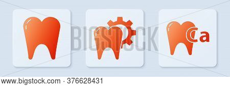 Set Tooth Treatment Procedure, Tooth And Calcium For Tooth. White Square Button. Vector