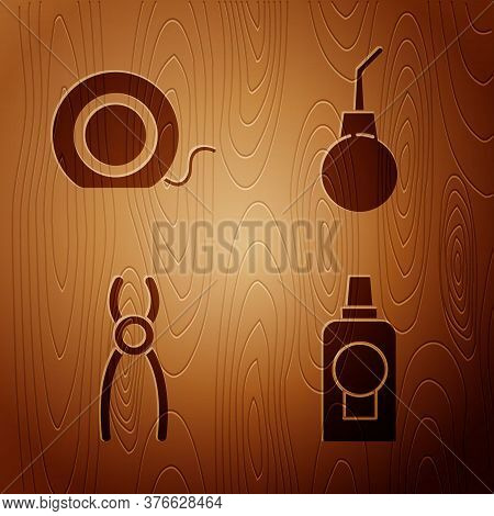 Set Mouthwash Plastic Bottle, Dental Floss, Dental Pliers And Enema Pear On Wooden Background. Vecto