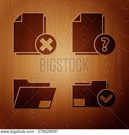 Set Document Folder And Check Mark, Delete File Document, Document Folder And Unknown Document On Wo