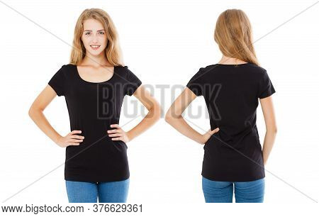 Woman In Tshirt Posing Isolated On White Background, Girl Tshirt Set