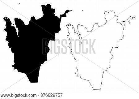 Northeastern Region (iceland Island, Regions Of Iceland) Map Vector Illustration, Scribble Sketch No
