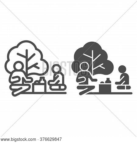 Father And Son On Picnic Line And Solid Icon, Outdoors Concept, Family Picnic Sign On White Backgrou