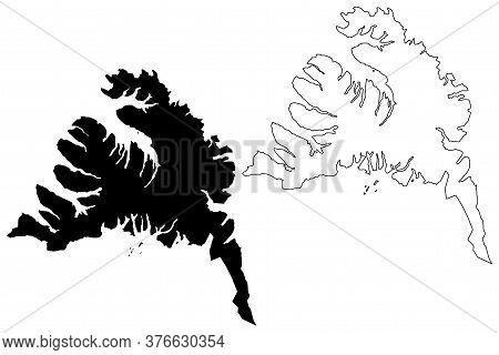 Westfjords Region (iceland Island, Regions Of Iceland) Map Vector Illustration, Scribble Sketch West