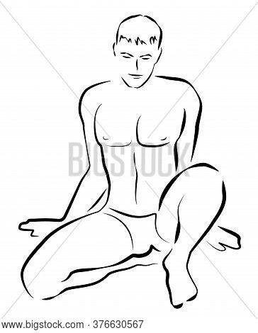 Male Nude Outline Illustration. Sexy, Young, Handsome, Athletic, Shirtless, Sitting Man. Comic Style