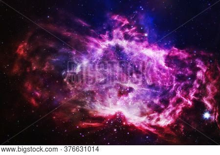 Stars, Dust And Gas Nebula In A Far Galaxy. Chaotic Space Background. The Elements Of This Image Fur