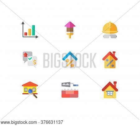 Property Icons Set. Progress Up And Property Icons With Home Loan, Inspection And House Price Percen