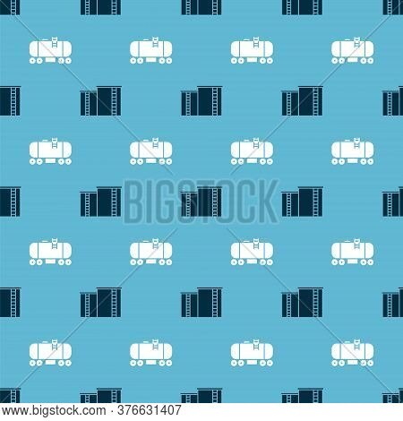 Set Oil Industrial Factory Building And Oil Railway Cistern On Seamless Pattern. Vector