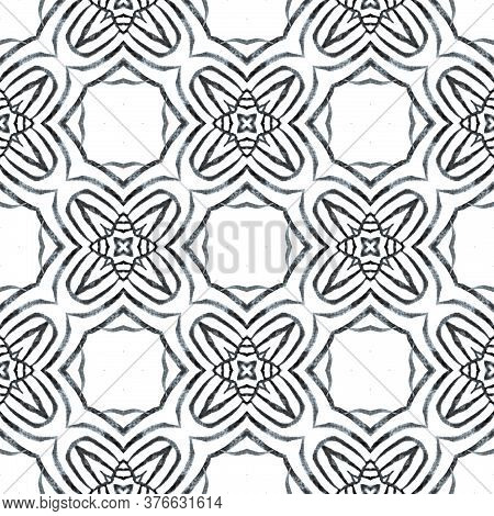 Green Geometric Chevron Watercolor Border. Black And White Appealing Boho Chic Summer Design. Textil