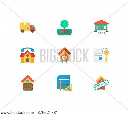 Property Icons Set. House For Rent And Property Icons With Real Estate, Move And Home Loan Approved.