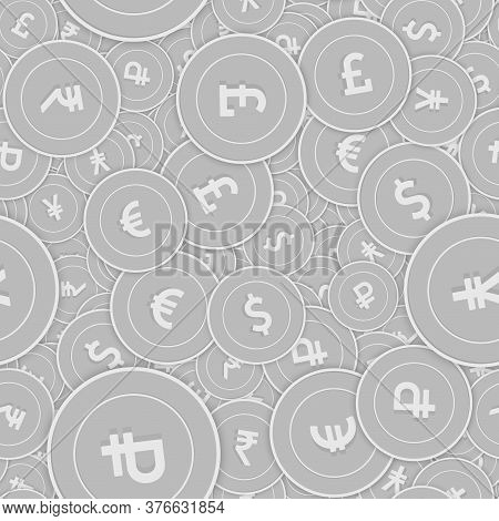 International Currencies Silver Coins Seamless Pattern. Rare Scattered Black And White Global Coins.
