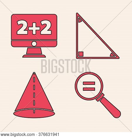 Set Calculation, Equation Solution, Triangle Math And Geometric Figure Cone Icon. Vector