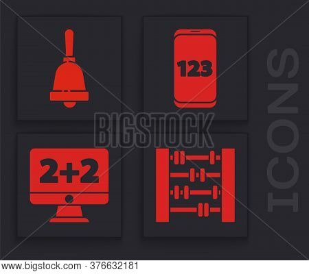 Set Abacus, Ringing Bell, Mobile Calculator Interface And Equation Solution Icon. Vector