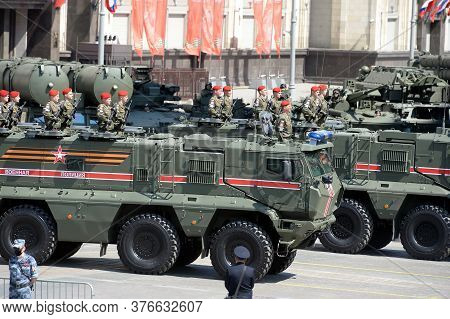 Moscow, Russia - June 24, 2020:armored Trucks Of The Military Police Kamaz-63968 `typhoon-k` For Tra